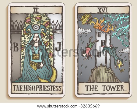 VECTOR Hand-drawn, grungy, textured Tarot cards depicting the High Priestess and the Tower. - stock vector