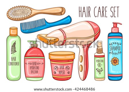 Vector hand drawn hair care colorful set with cosmetic bottles, hairdryer, brushes and combs - stock vector