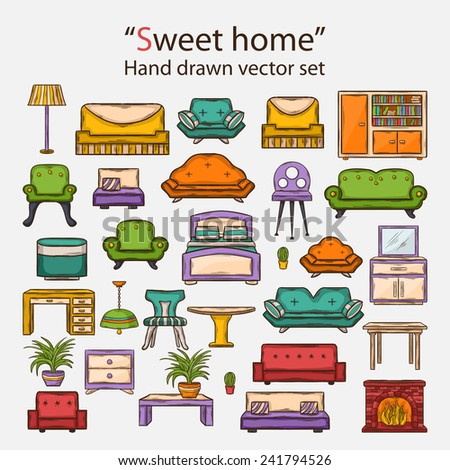 Vector hand drawn Icon set with various home interior decor,home accessories, furniture icons, sofas,armchairs, table,lamp, floor lamp,wardrobe,mirror,bed, chair in doddle style with shadow  - stock vector