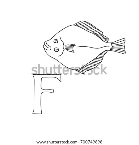 Vector Hand Drawn Illustration Capital Letter F On Alphabet Card Black And White Realistic Flatfish