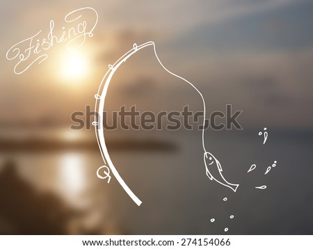 Vector hand drawn illustration of a fishing rod with a caught fish on a blur sea sunset background - stock vector