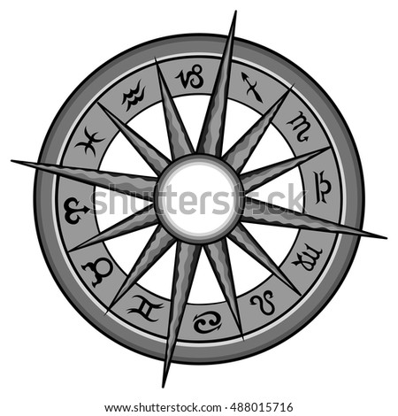Vector hand drawn illustration of a silver zodiac wheel.