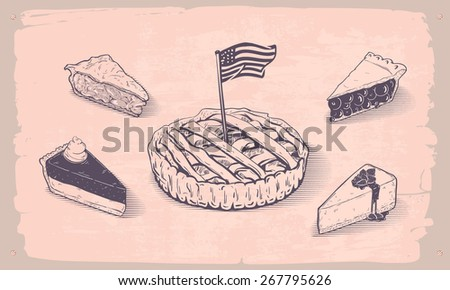 Vector hand drawn illustration of american pies - stock vector