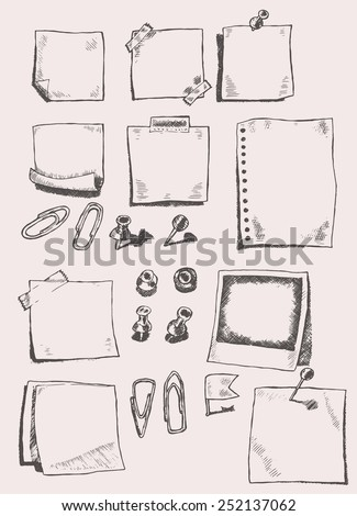Vector hand drawn illustration of pins, pointers, note papers  and paper clips, sketch, doodles - stock vector