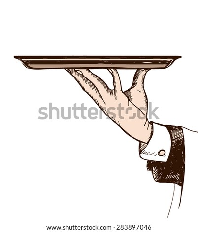 vector hand-drawn illustration of waiter's hand holding a tray  - stock vector