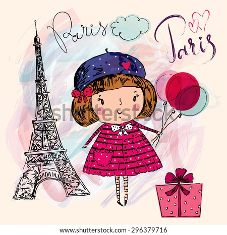 Vector hand drawn illustration with Eiffel tower. Paris. Little girl in Paris - stock vector