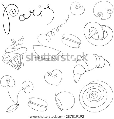Vector hand drawn illustration with Paris logo and symbols set. Vintage background. Seamless pattern. - stock vector
