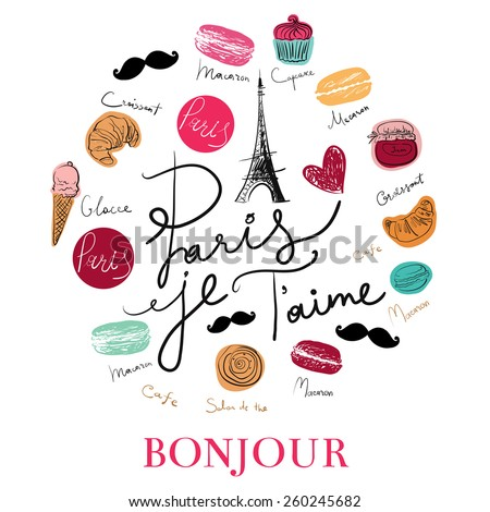 Vector hand drawn illustration with Paris symbols. Paris je T'aime - I love Paris - stock vector