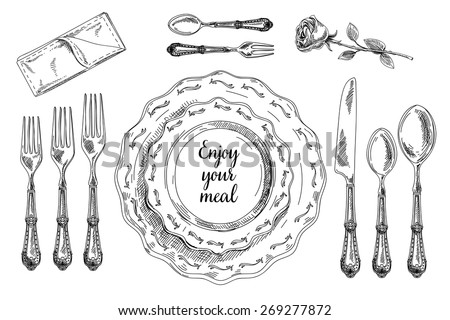 Vector hand drawn illustration with Table setting set. Sketch. Vintage illustration. - stock vector