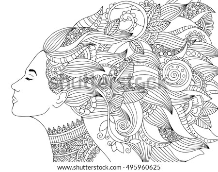 Vector Hand Drawn Illustration Woman Floral Stock Vector