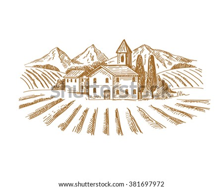 vector hand drawn image of village and landscape - stock vector