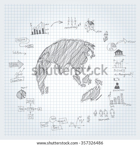 Vector hand drawn infographic elements. - stock vector