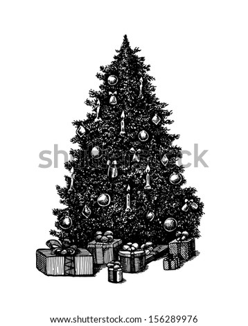 Vector hand drawn ink pen Christmas tree - stock vector