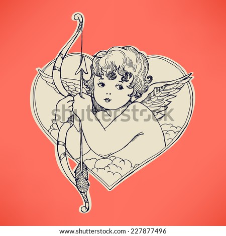 Vector hand drawn ink pen illustration on cute cupid in heart shaped frame holding bow and arrow | Retro looking angel with bow and arrow line art drawing on pink background - stock vector