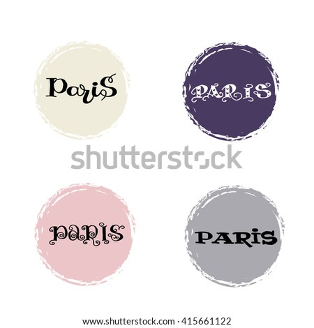 Vector hand drawn inscription  with words  Paris . Ink illustration. . Modern brush calligraphy with a circles..  - stock vector