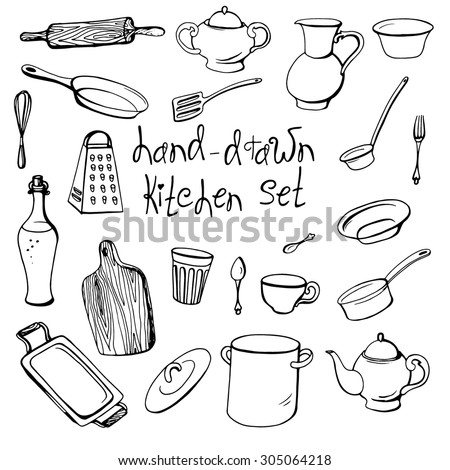 Vector handdrawn kitchen set kitchenware doodle stock for Kitchen set drawing