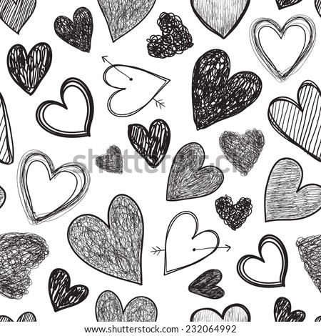 vector hand drawn line black and white hearts seamless background - stock vector