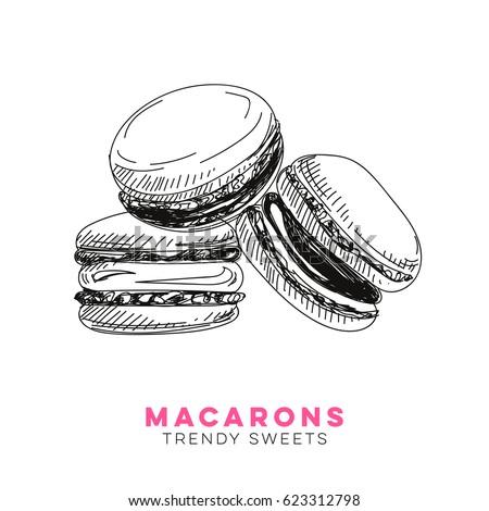 vector hand drawn macarons illustration sketch เวกเตอร สต อก