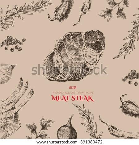 vector hand drawn meat restaurant menu stock vector royalty free