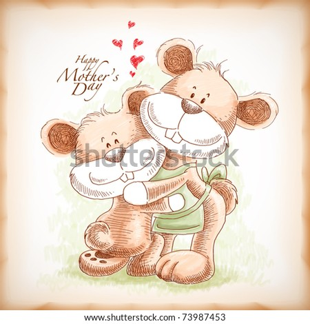 Vector Hand Drawn Mother and Son Teddy Bear, Illustration for Mother's Day - stock vector