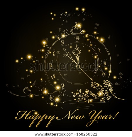 Vector hand drawn New Year greeting card - stock vector