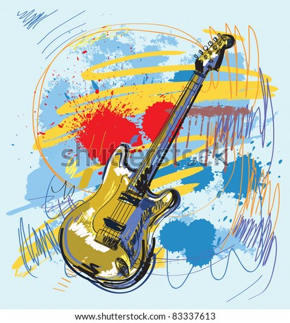 vector hand drawn of guitar on colour background - stock vector