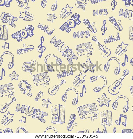 vector hand drawn of music icons set - stock vector