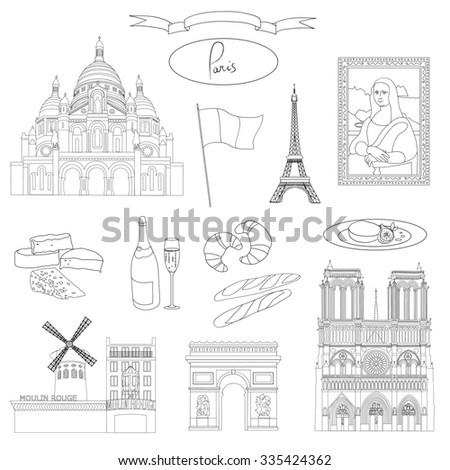 Vector hand-drawn Paris landmarks and food illustration black and white set