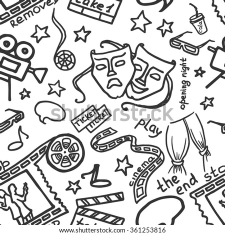 Vector hand drawn pattern of objects and symbols on the cinema theme