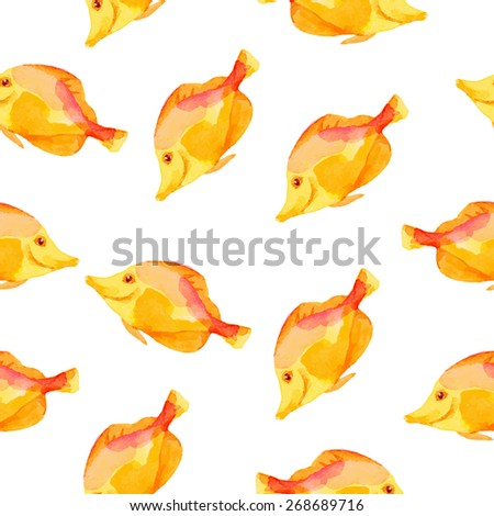 Vector hand drawn pattern with watercolor fishes - stock vector