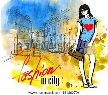 vector hand drawn picture of fashion girl - stock vector