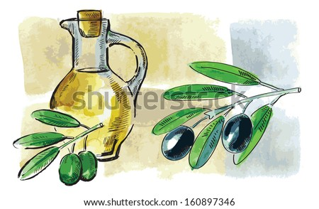 vector hand drawn picture of olive oil - stock vector