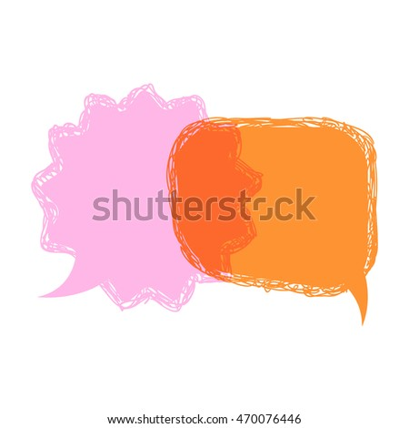 Vector  hand drawn pink and orange talking bubbles isolated on a white background. communication template