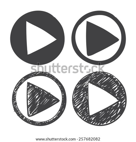 vector hand drawn play icon. sketch symbol on a white background - stock vector