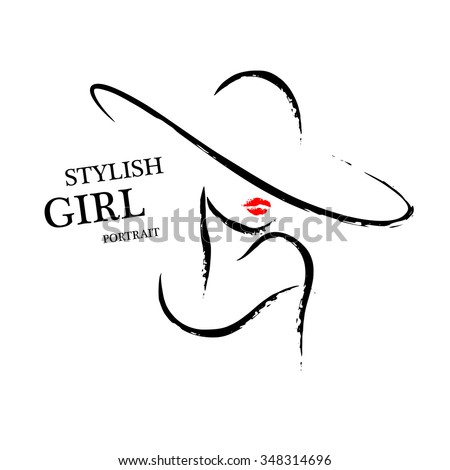 Vector hand drawn portrait of young stylish girl face isolated on white background. Artistic sketch line. Woman hat sign. Magazine cover, journal article, print, package design, shop and store logo. - stock vector