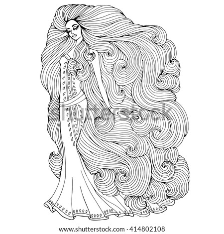 Vector Hand Drawn Princess Young Girl With Long Wavy Hair In A Historical Dress
