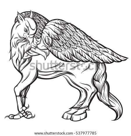 Vector Hand Drawn Realistic Illustration Of Hippogriff In Line Style Mythological Magic Religion Victorian Motif