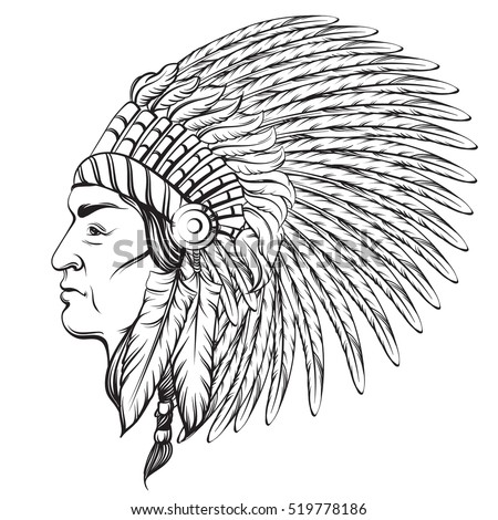 indian hat template - native american head hand drawn vector stock vector