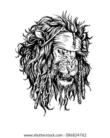 Vector hand drawn realistic lion-pirate character. - stock vector
