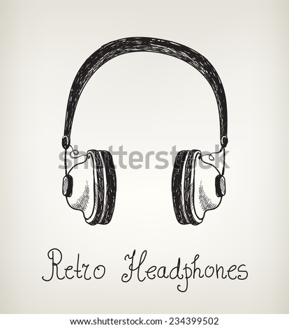 vector hand drawn retro headphones, earphones isolated - stock vector
