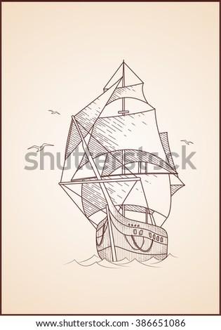 Vector hand drawn retro ship with gulls. Old ship engraving illustration. Vintage sailboat. - stock vector