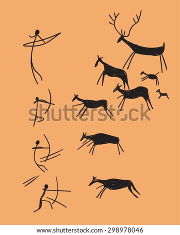 vector hand drawn rock-painting depicting hunting. concept ancient sketch on a orange background - stock vector