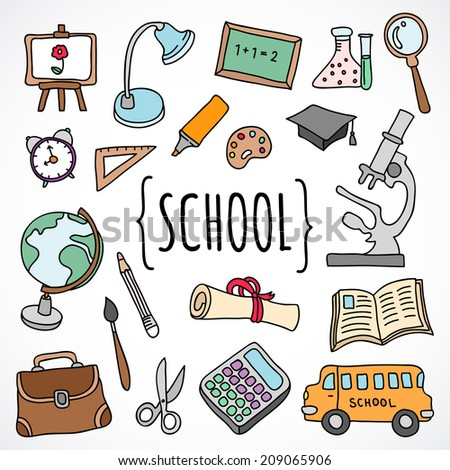 Vector hand drawn school and college education icons and objects