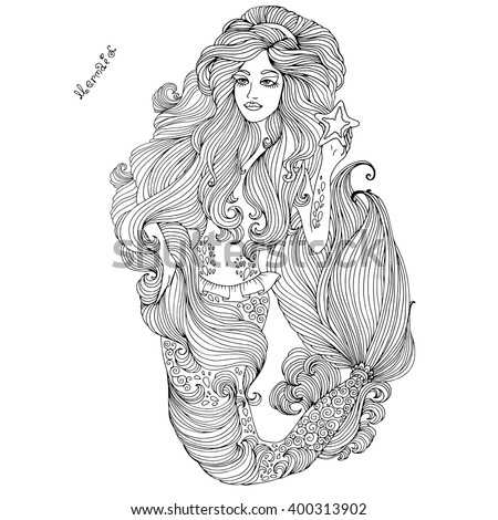 Vector hand drawn sea mermaid with long wavy hair holding a starfish, beautiful patterned scaly tail and wavy fins. Coloring page. On a white background - stock vector