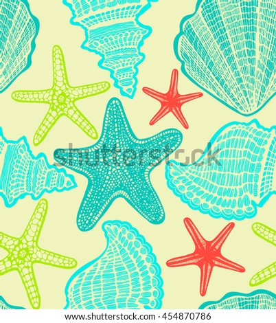 vector hand drawn seamless colorful background with blue starfishes and shells