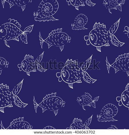 Vector hand drawn seamless pattern. Fishes and snails on a blue background.