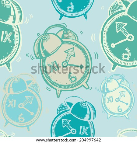 Vector hand-drawn seamless pattern with alarm clock  - stock vector