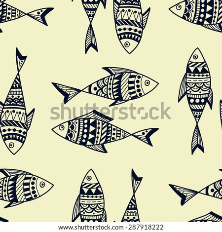 Vector hand-drawn seamless pattern with fishes.