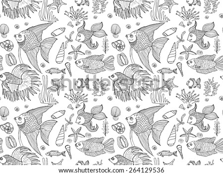 Vector hand drawn seamless pattern with fishes, shells and seaweeds. Ocean background.  - stock vector