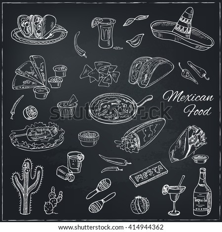 Vector hand drawn set of Mexican food: vegetables, tequila, burrito, tacos and other mexican eating.  Vintage illustration for design menus, recipes and packages product. - stock vector